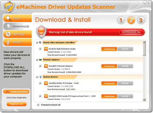 eMachines Driver Updates Scanner