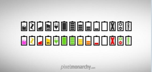 简约的电池图标PSD素材