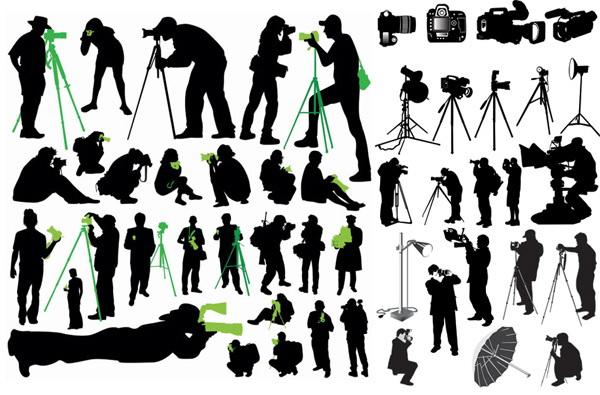 摄影师剪影矢量_摄影师剪影矢量模板