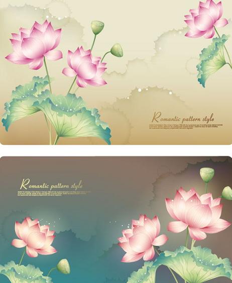 莲花装饰背景矢量图