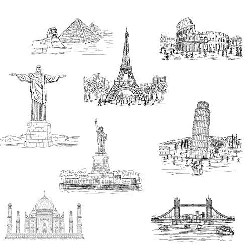 世界地标建筑草图矢量素材