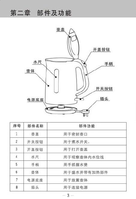 九阳jyk-15f05a开水煲使用说明书