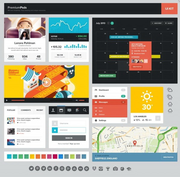 WEB网页UI工具包PSD