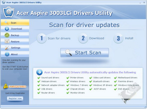 Acer Aspire 3003LCi Drivers Utility