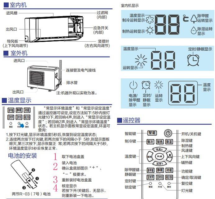海尔kfr-26gw/06zea22家用变频空调使用安装说明书