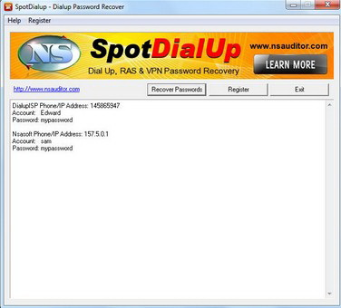 SpotDialup Password Recover