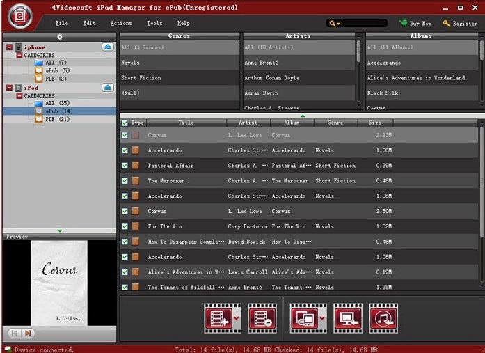4Videosoft iPad Manager for ePub