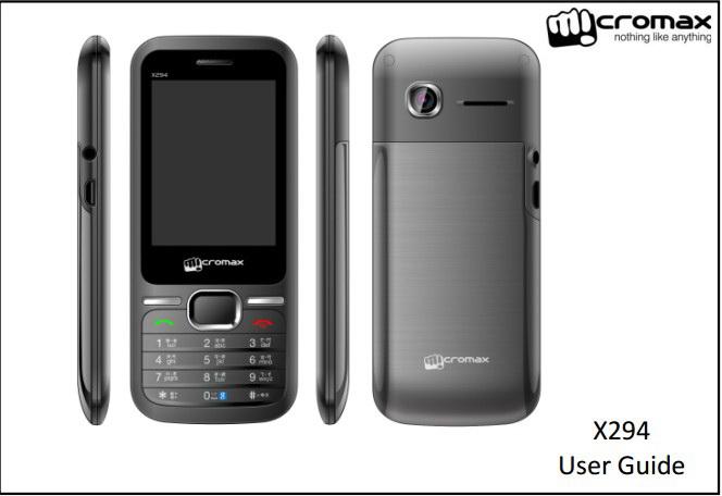 Micromax X294手机说明书