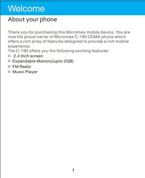 Micromax C190手机说明书