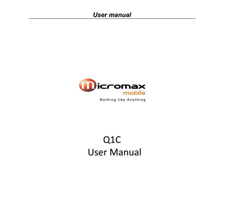 Micromax Q1c手机说明书