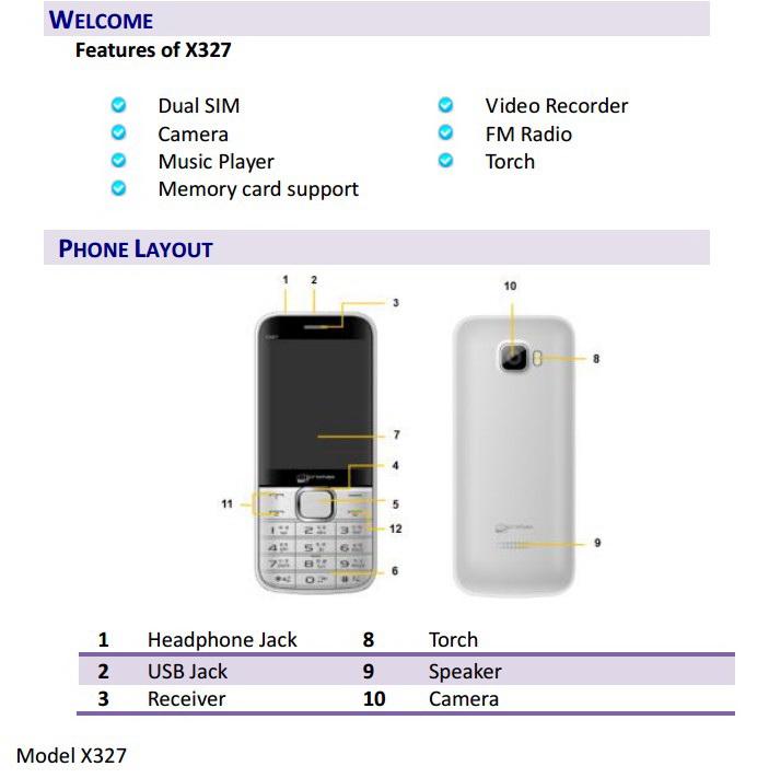 Micromax X327手机说明书