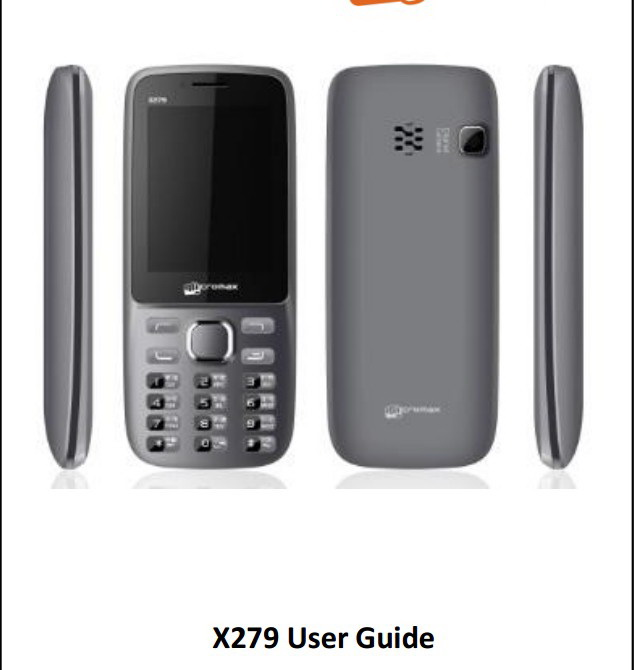 Micromax X279手机说明书