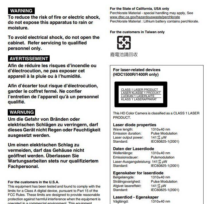 索尼HDC1550R数码摄像机使用说明书