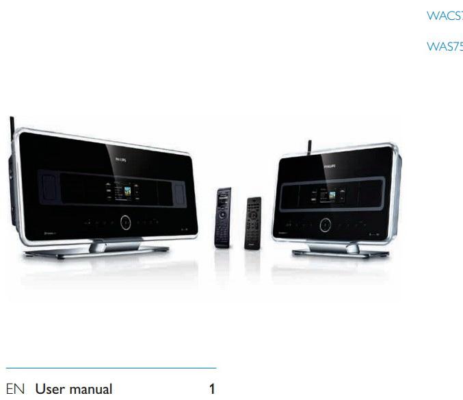 PHILIPS WACS7500/WAS7500无线网络音乐系统说明书