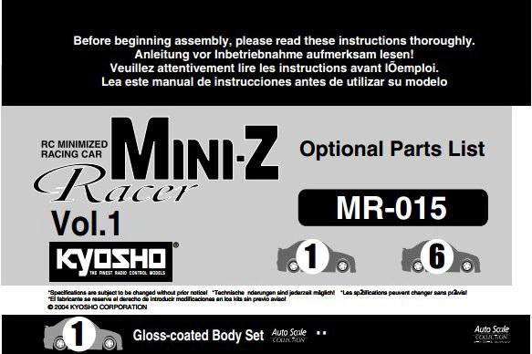 kyosho MINI-Z遥控摩托车使用说明书