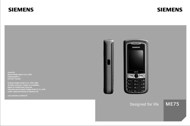 BenQ-Siemens ME75手机使用说明书