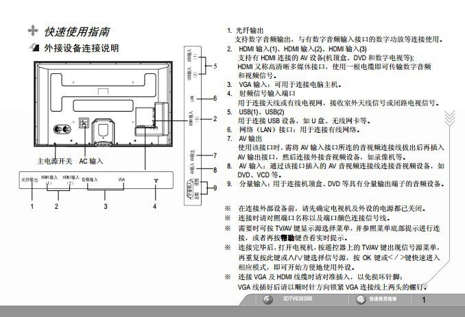 长虹3DTV63938B彩电使用说明书