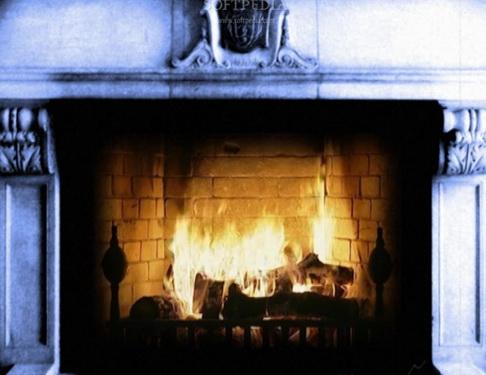 Old Fashion Fireplace with Snow Fall