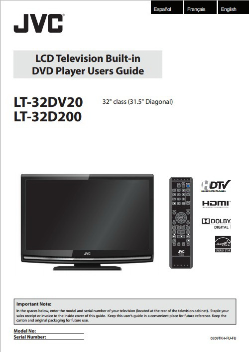 JVC胜利LT-32DV20液晶电视使用手册