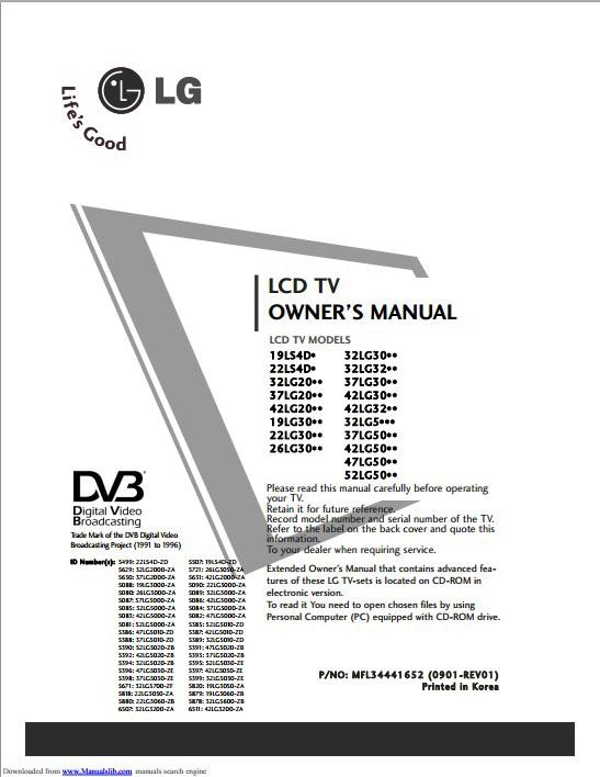 LG 37LG5000-ZA液晶电视用户手册