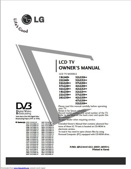 LG 42LG2000-ZA液晶电视用户手册