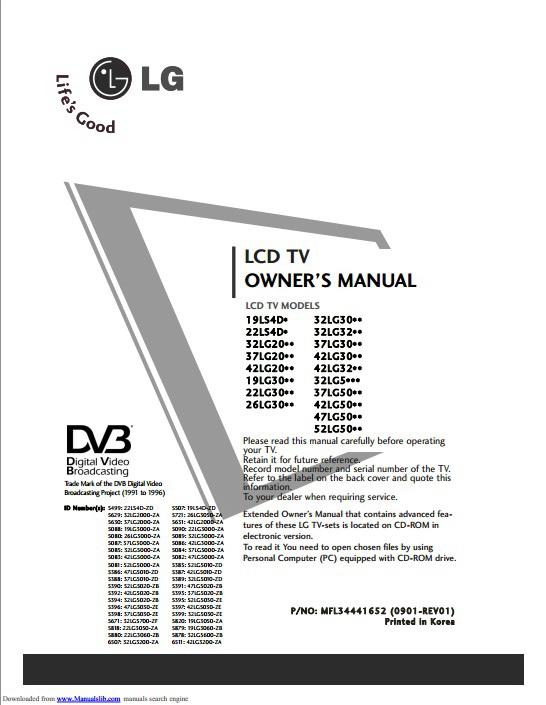 LG 42LG5000-ZA液晶电视用户手册