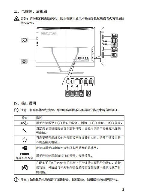 联想Lenovo C460电脑快速安装指南