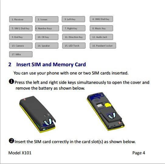 Micromax X101手机说明书