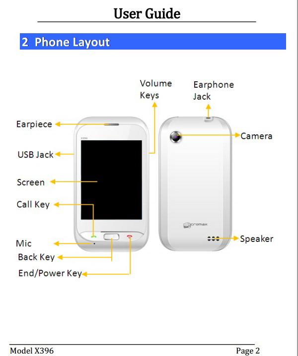Micromax X396手机说明书
