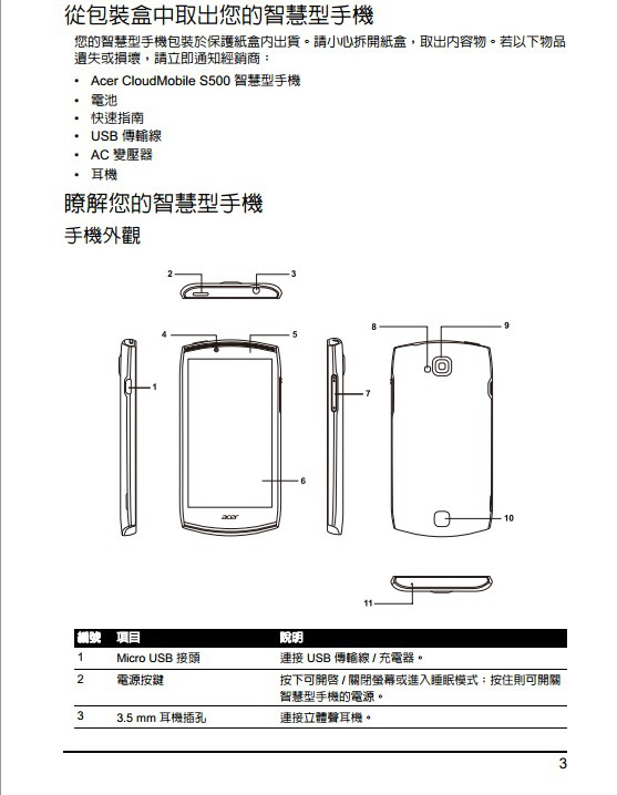 Acer CloudMobile S500手机说明书