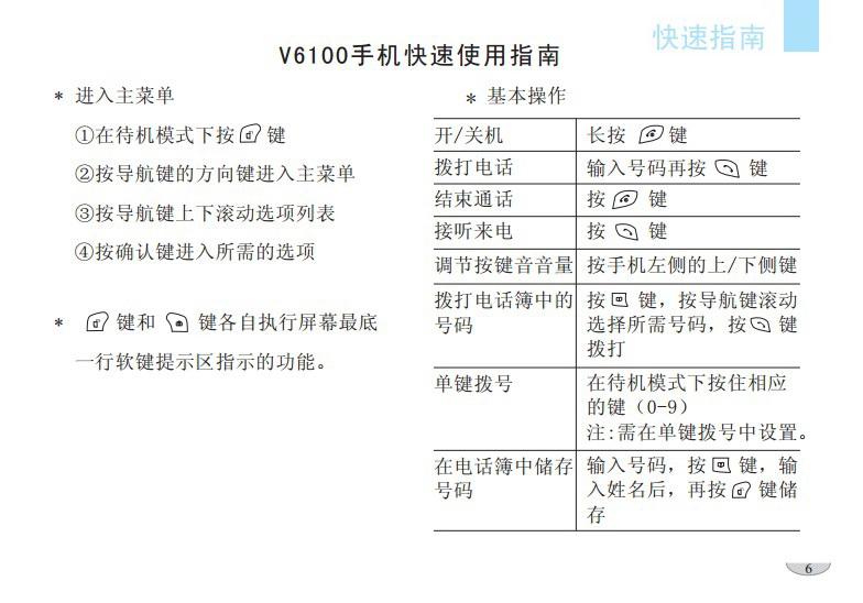 海尔V6100手机使用说明书