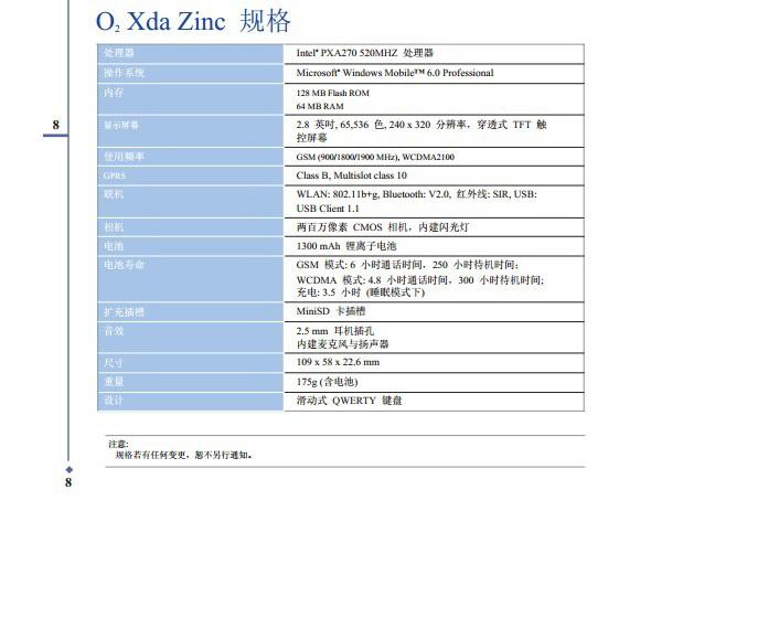 O2 Xda Zinc手机使用说明书