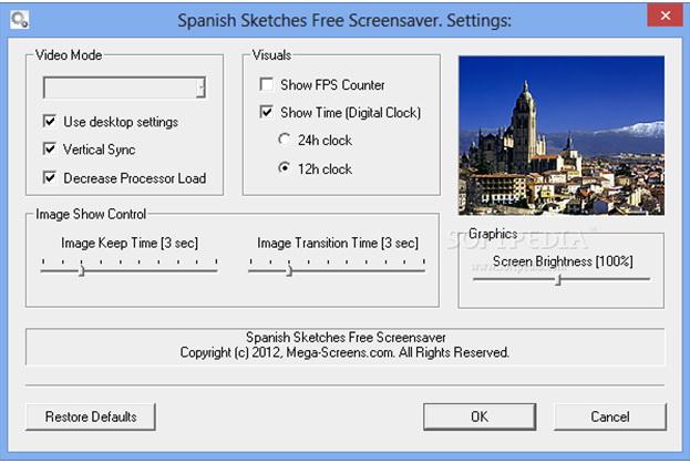 Spanish Sketches Free Screensaver