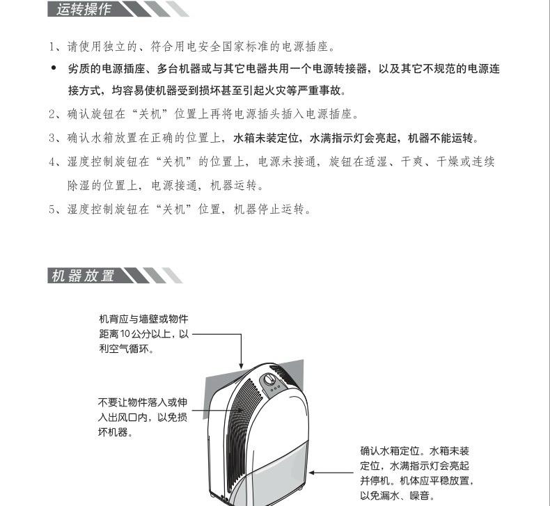 森井电气CH918RB除湿机使用说明书