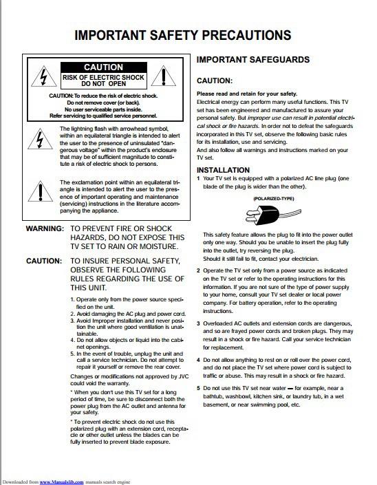 JVC胜利C-13110彩电使用手册
