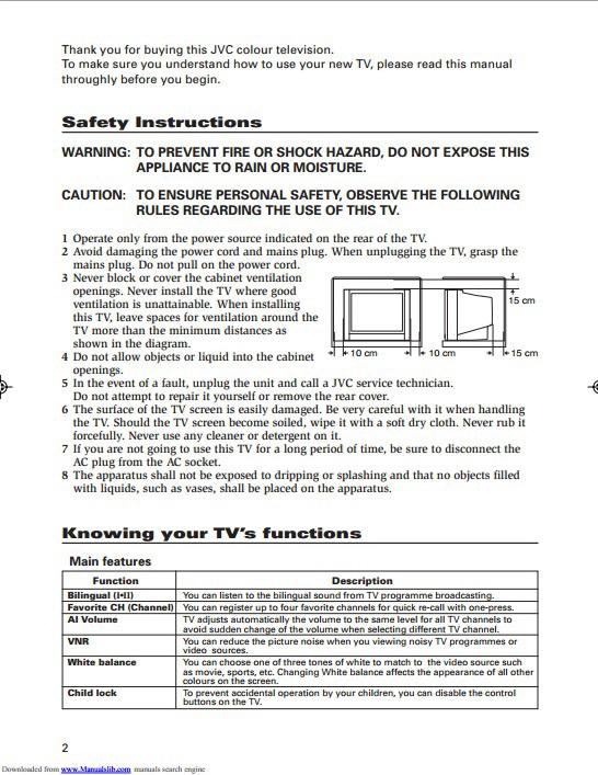 JVC胜利AV-21D114彩电使用手册