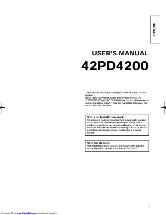 日立42PD4200等离子彩电使用手册