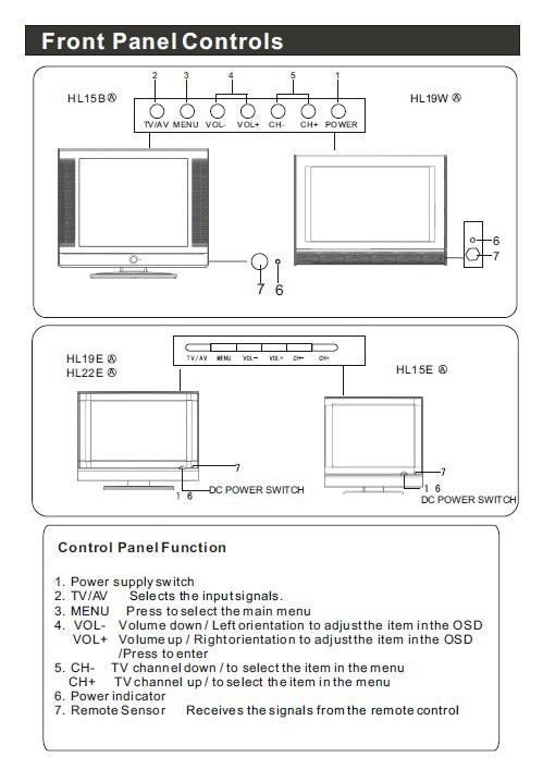 海尔HL19E液晶彩电使用手册