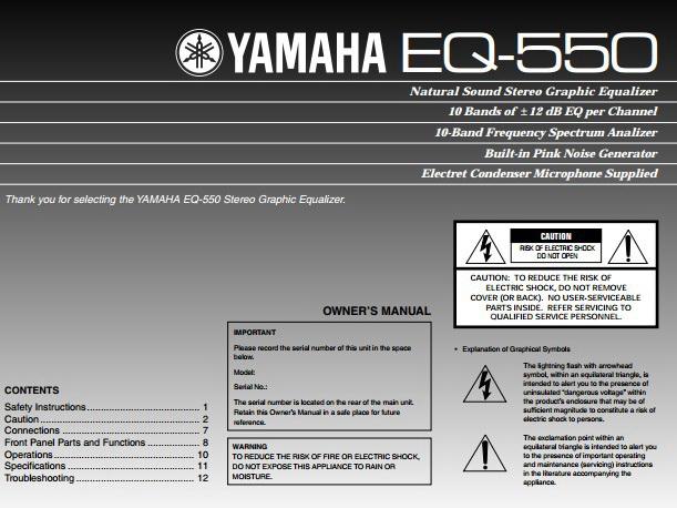 雅马哈EQ-550声乐处理器说明书