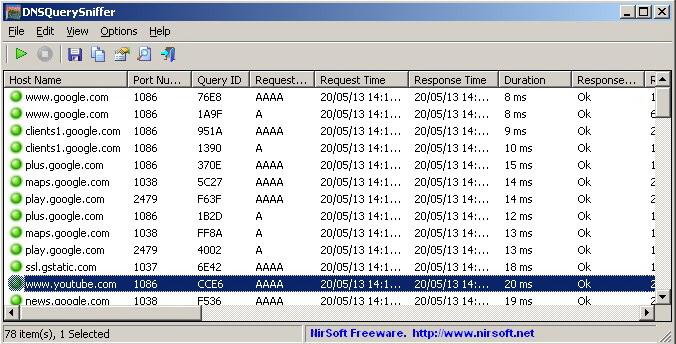 DNSQuerySniffer(64-bit)