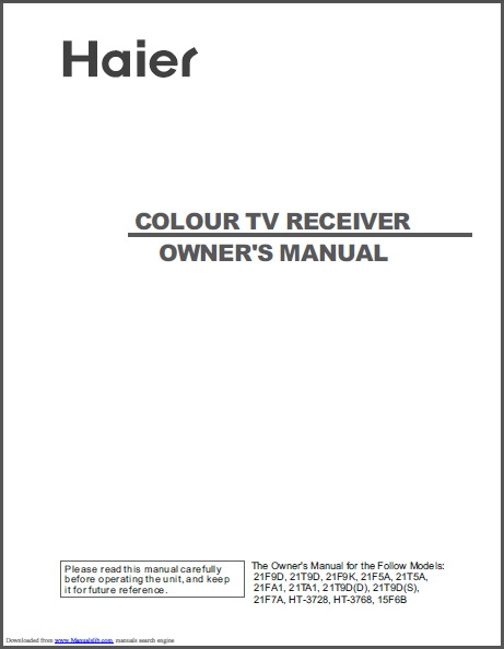海尔HT-3768彩色电视用户手册