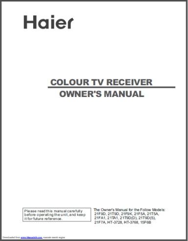 海尔21F9D彩色电视用户手册