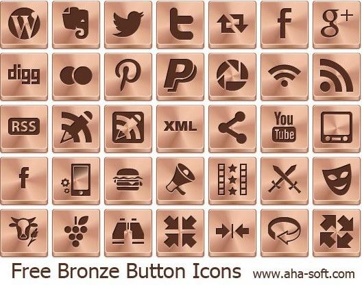 Free Bronze Button Icons