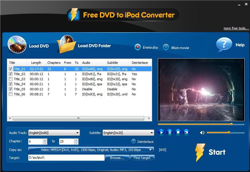 Free DVD to iPod Converter