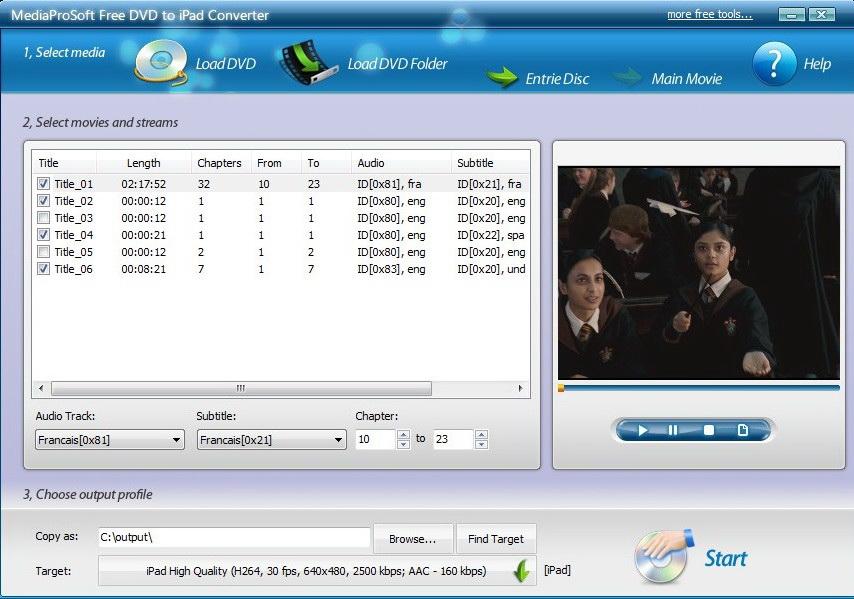 MediaProSoft Free DVD to iPad Converter
