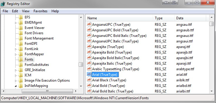 Virtual Font Folder
