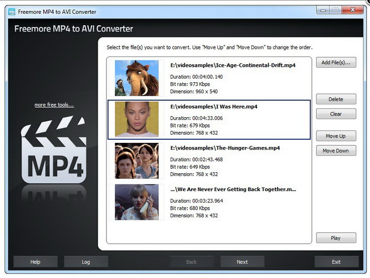 Freemore MP4 to AVI Converter