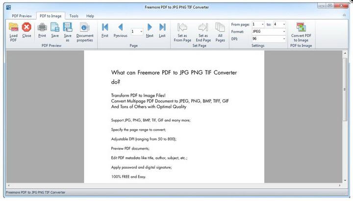 Freemore PDF to JPG PNG TIF Converter
