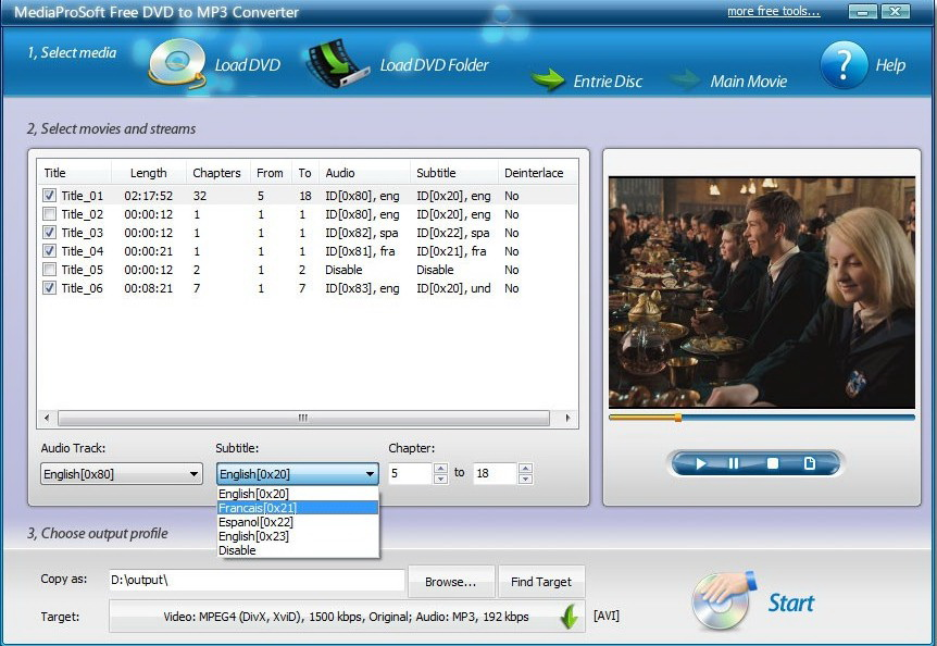 MediaProSoft Free DVD to MP3 Converter