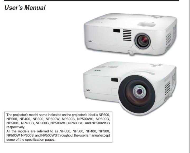 NEC NP500投影机说明书